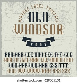 Handcrafted 'Old Windsor' font with the ribbon. Vintage font.