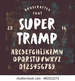 Handcrafted rough font. Brush painted uppercase alphabet