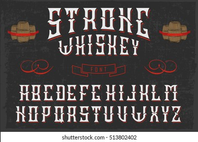 Handcrafted Strong whiskey font with barrels and decorations