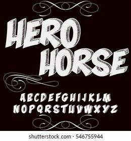 handcrafted vector script alphabet font vintage old style and vector design handwritten,brush,retro,old style design,vector letters,vintage,labels,illustration,named-Hero horse