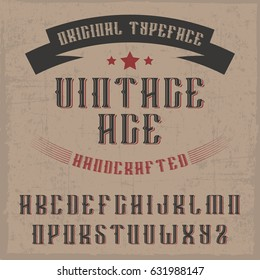 handcrafted 'Vintage age' font with a ribbon. Vintage style.