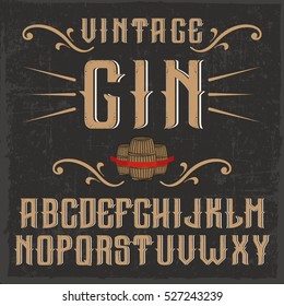 Handcrafted 'Vintage Gin' font with casks and decorations, dusty background