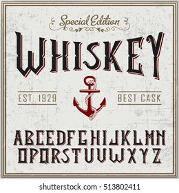 Handcrafted Whiskey font with the anchor and decorations