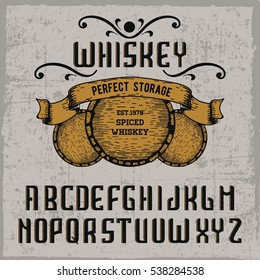 Handcrafted 'Whiskey' font with a ribbon and vintage barrels, vintage  background