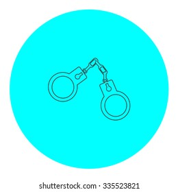 Handcuffs. Black outline flat icon on blue circle. Simple vector illustration pictogram on white background