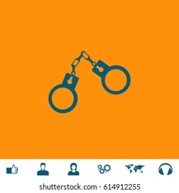 Handcuffs. Blue symbol icon on orange background. Vector illustration and bonus icons Thumb up, Man and Woman avatar, Gears, World map, Headphones