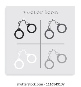 Handcuffs flat black and white vector icon.