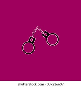 Handcuffs flat symbol pictogram over purple background. line vector icon with stroke
