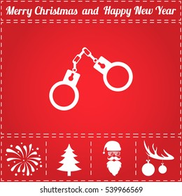 Handcuffs Icon Vector. And bonus symbol for New Year - Santa Claus, Christmas Tree, Firework, Balls on deer antlers