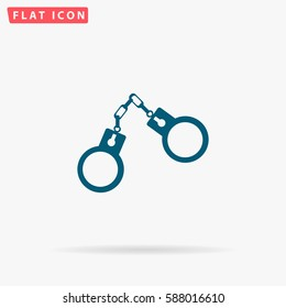 Handcuffs Icon Vector. Flat simple Blue pictogram on white background. Illustration symbol with shadow