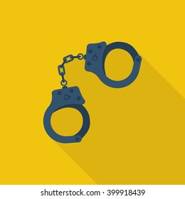 Handcuffs icon. Vector illustration. Flat design style. Handcuffs isolated with long shadow. Arrest symbol. Jail icon. Punishment for crime. Law justice.