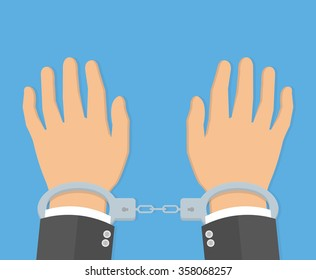 Handcuffs on hands concept. flat style design