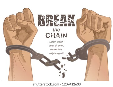 Handcuffs on the hands of the criminal. Arrested man in handcuffs. A crime, corruption and arrest concept. Hand Drawn Sketch vector illustration
