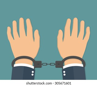 Handcuffs on hands. flat style
