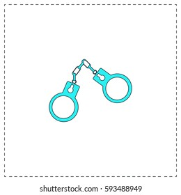 Handcuffs Outline vector icon with black editable stroke. Contour line blue pictogram on white background. Flat illustration symbol