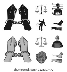 Handcuffs, scales of justice, hacker, crime scene.Crime set collection icons in black,monochrome style vector symbol stock illustration web.