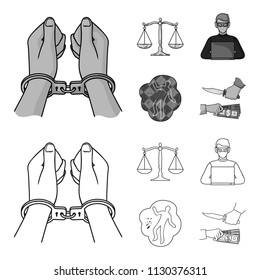 Handcuffs, scales of justice, hacker, crime scene.Crime set collection icons in outline,monochrome style vector symbol stock illustration web.