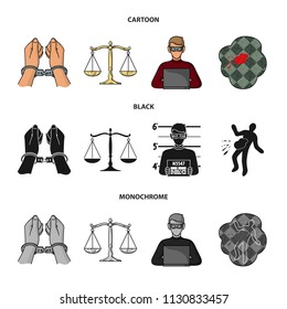 Handcuffs, scales of justice, hacker, crime scene.Crime set collection icons in cartoon,black,monochrome style vector symbol stock illustration web.