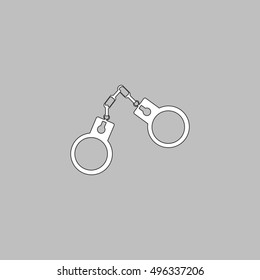 Handcuffs Simple line vector button. Thin line illustration icon. White outline symbol on grey background