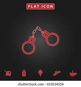 Handcuffs Simple vector button. Flat icon with stroke on black background and bonus icons