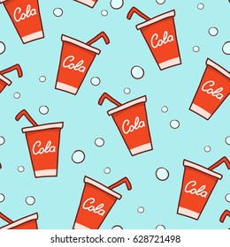 hand-draw cola. Doodle cola seamless pattern background.Fast food seamless vector pattern.