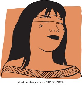 Hand-draw outline portrait of a tribal woman with orange sample color. Abstract colletion of different people and skin tones. Diversity concept