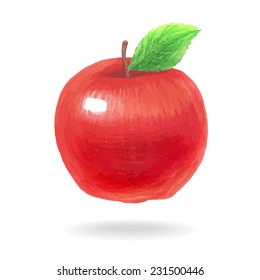 Hand-drawing apple. Colored pencils and felt-tip pens illustration. Vector.