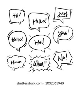 handdrawing balloon speech bubbles set with short messages vector illustration