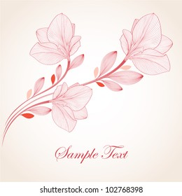 Hand-drawing floral background with flower amaryllis. Element for design. Vector illustration.