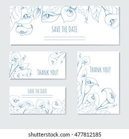 Hand-drawing floral background with flower calla. Greeting card, invitation, background for text.