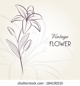 Hand-drawing floral background with flower lily