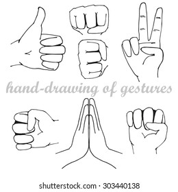 Hand-drawing of gestures.vector elements