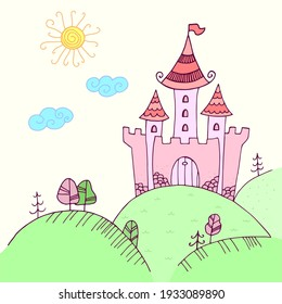Hand-drawing illustration of a fairytale castle. The Palace for princess  in  Doodle style