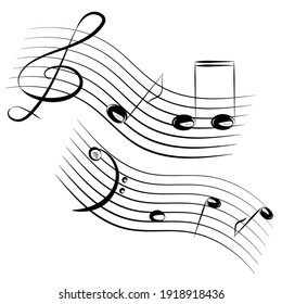 Hand-drawing of musical lines with bass and treble clefs and notes isolated on white background. Vector