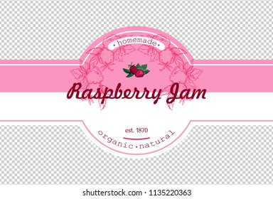 Hand-drawing raspberry jam packing label design. Raspberry logo design element for packaging fruit jam. Isolated vector illustration
