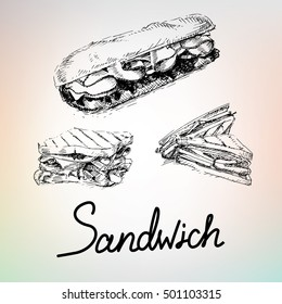 Handdrawing sandwich and burger, with turkey, chiken, chese, bacon, egg. Food for menu