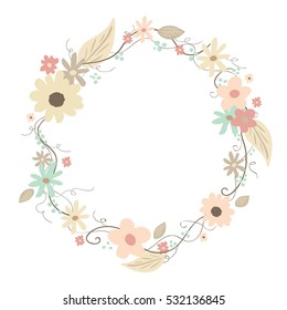 Hand-drawing vintage circle with flowers, leafs and swirls