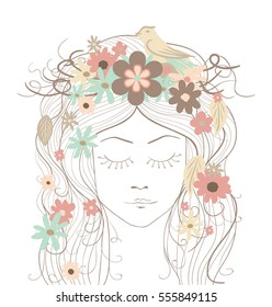 Hand-drawing vintage girl portrait with flowers