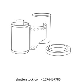 hand-drawn 35mm negative film roll cassette, vector