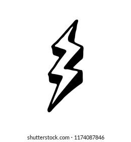 Handdrawn 3D lightning set doodle icon. Hand drawn black sketch. Sign cartoon symbol. Decoration element. White background. Isolated. Flat design. Vector illustration.