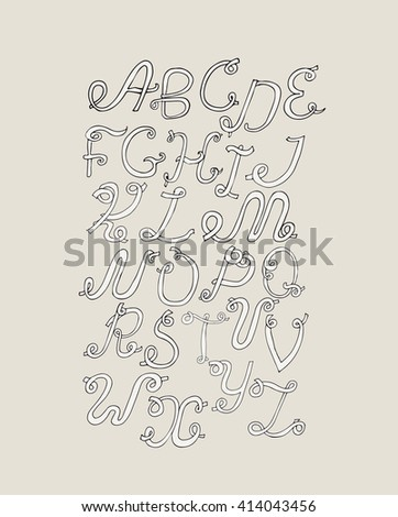 Hand Drawn ABC Funky Letters Isolated On Light Background Grunge Alphabet