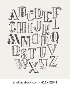 Hand-drawn ABC letters, isolated on white background. Hand drawn ink 3d font, funky and grunge alphabet, vector graphic illustration. Scratched, hatch at the shade side, using stippling and lines.