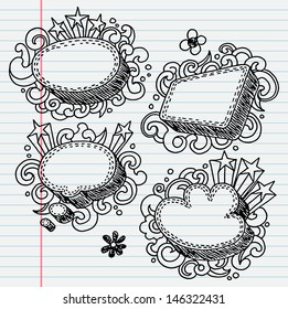 Hand-drawn abstract comic speech bubble sketchy notebook doodle drawing