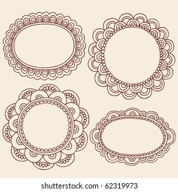 Hand-Drawn Abstract Henna Mehndi Flowers Frames Doodle Vector Illustration Design Elements