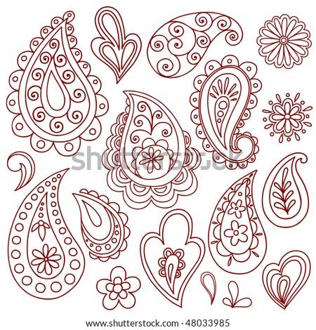 Hand Drawn Abstract Henna Mehndi Paisley Vector Stock Vector