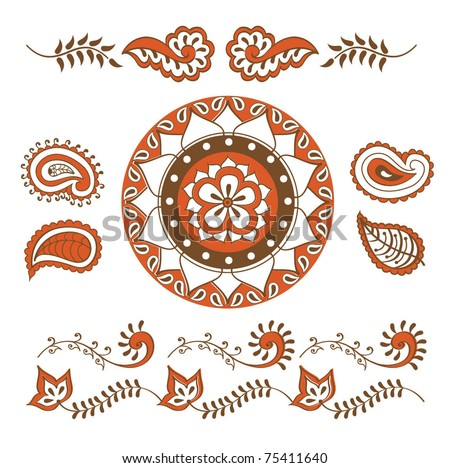 Hand Drawn Abstract Henna Mehndi Vines Flowers Stock Vector Royalty