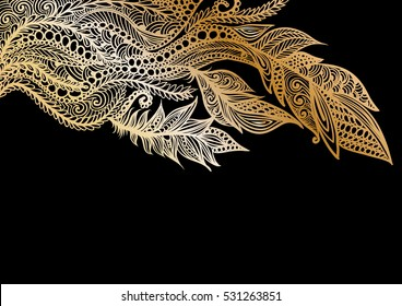 handdrawn abstract pattern with feathers in gold color,  on a black background