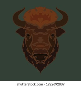 Hand-drawn abstract portrait of a bison. Vector stylized colorful illustration for tattoo, logo, wall decor, T-shirt print design or outwear.