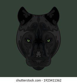 Hand-drawn abstract portrait of a panther. Vector stylized colorful illustration for tattoo, logo, wall decor, T-shirt print design or outwear.