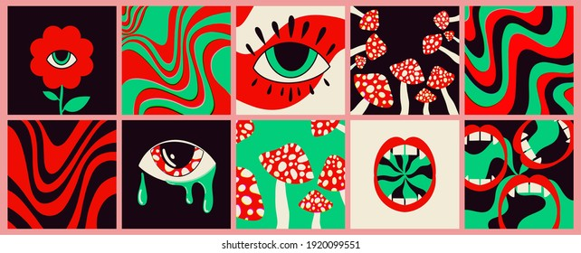 Hand-drawn abstract shapes. Large set of multicolored vector illustrations. Cartoon, psychedelic style. Flat design. All elements are isolated. Square posters, logo templates.